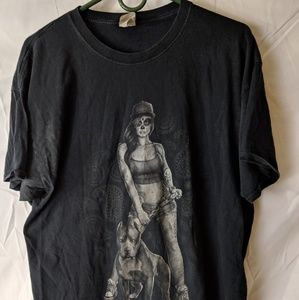 Men's.Fruit of the loom T-shirt with lady and dog